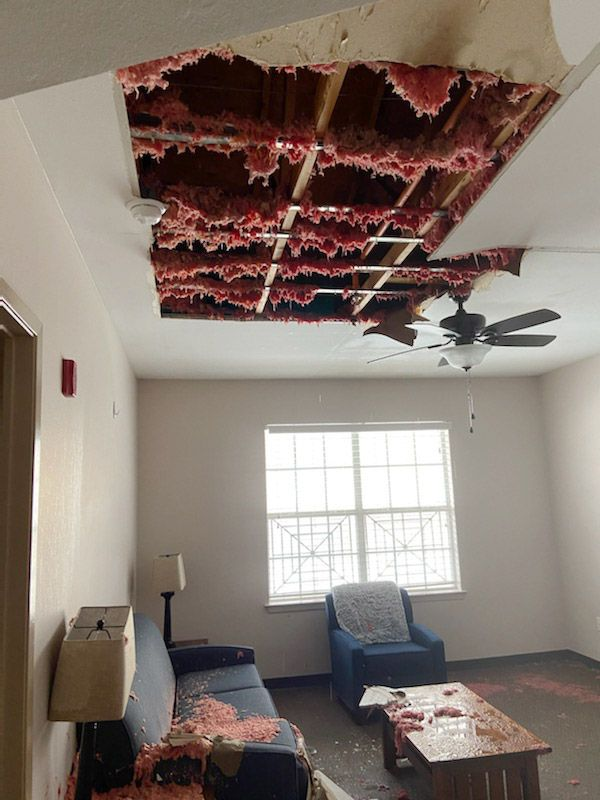 Bursting pipes inside the ceiling at Genesis Women's Shelter showered insulation down onto furniture. The damage caused the shelter to close for the first time in 35 years. (Rosy Kintzinger, Genesis Women's Shelter)