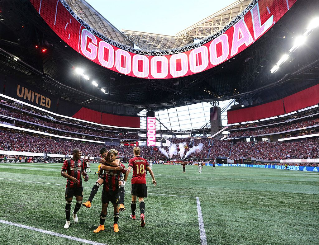 The roof of Mercedes-Benz Stadium in Atlanta is open as Atlanta United forward Josef Martinez celebrates his goal against the Philadelphia Union last week.