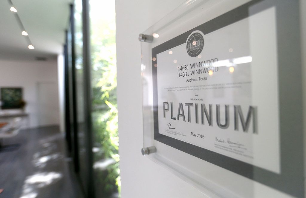 A LEED Platinum certification at Lynn Rush's home in Addison, Texas, Wednesday, July 11, 2018. (Jae S. Lee/The Dallas Morning News)