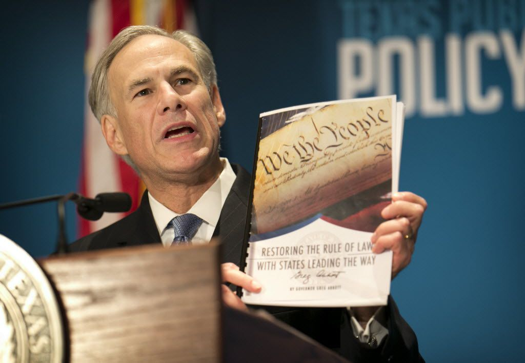 Gov. Greg Abbott calls for a convention of states to amend the Constitution during a speech at the Texas Public Policy Foundation in Austin in January 2016. (Jay Janner/Austin American-Statesman via AP)