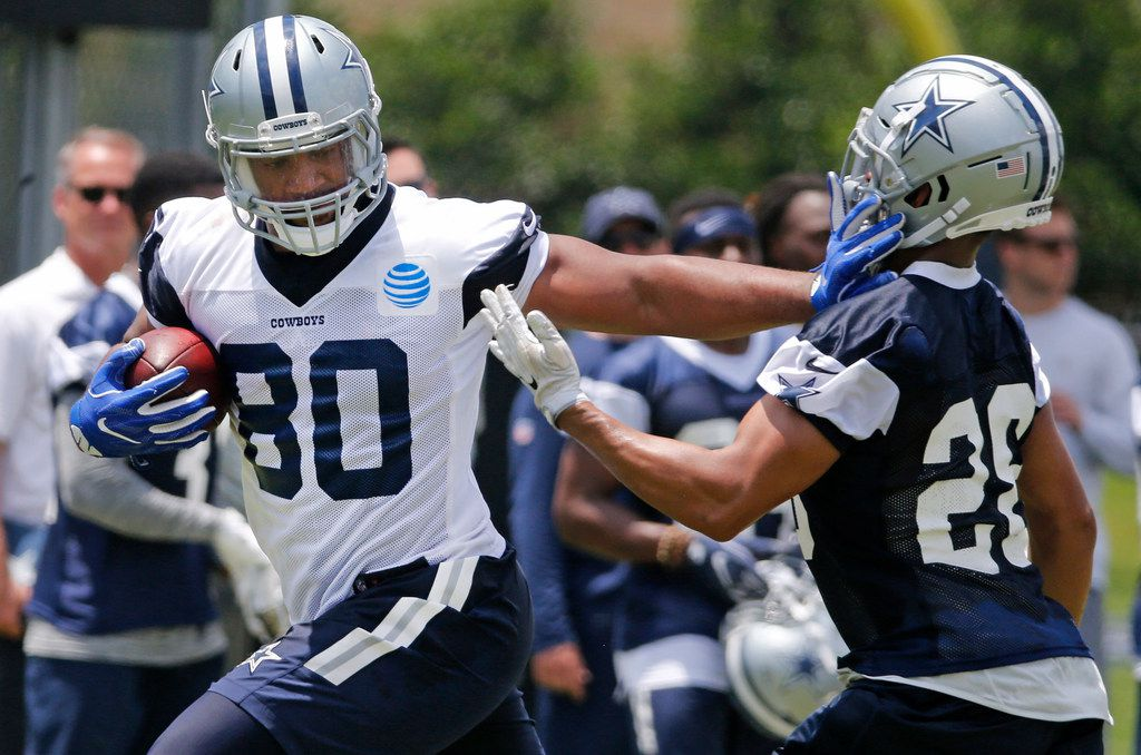 Dallas Cowboys tight end Rico Gathers (80) is pictured during Dallas Cowboys OTA football practice at the Star in Frisco on Wednesday, May 23, 2018. (Louis DeLuca/The Dallas Morning News)