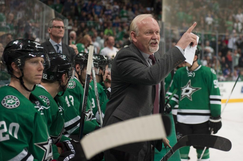 Feb 27, 2016; Dallas, TX, USA; Dallas Stars head coach Lindy Ruff argues a call of no goal during the third period against the New York Rangers at the American Airlines Center. The Rangers defeat the Stars 3-2. Mandatory Credit: Jerome Miron-USA TODAY Sports