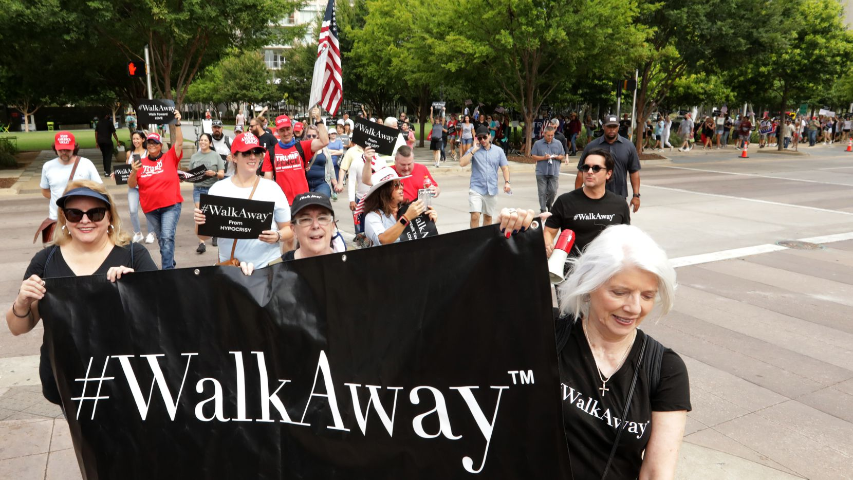 Several hundred people took part in Saturday's WalkAway Rescue America Rally in downtown Dallas on Saturday.