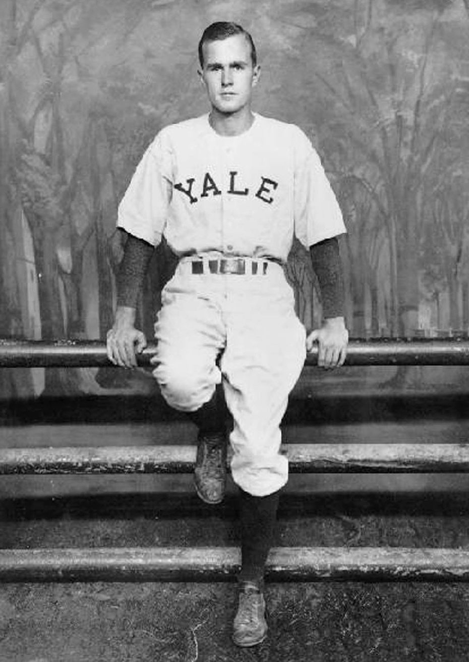 Bush in his baseball uniform at Yale University, circa 1945-48. (George W. Bush Library)