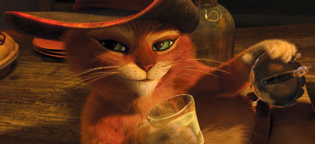 """In this image released by Paramount Pictures, Puss in Boots, voiced by Antonio Banderas, is shown in a scene from """"Puss in Boots."""""""
