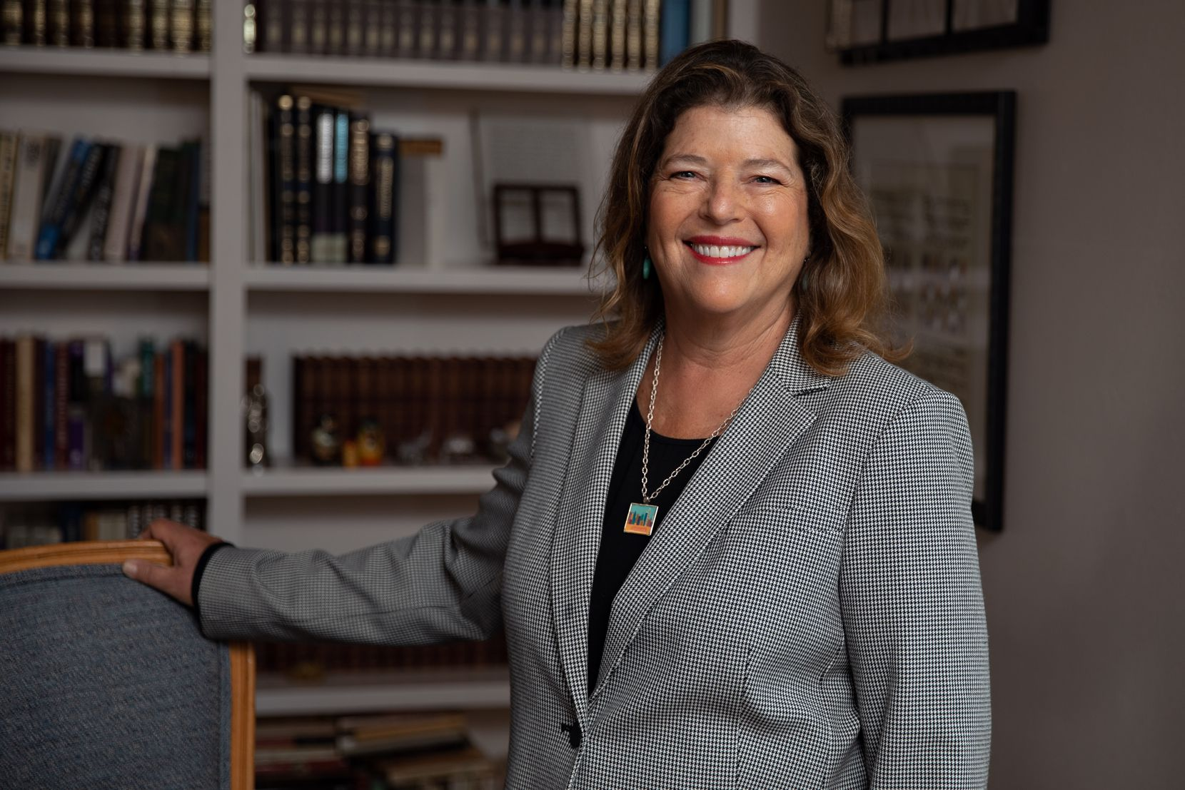 Jaynie Schultz, pictured in her home on May 20, 2021, is running to represent District 11 of the Dallas City Council. She's one of two candidates competing in the June 5 runoff for the open council seat. (Shelby Tauber/Special Contributor)