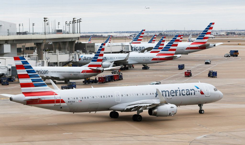 American Airlines planes in between Terminal A and C at DFW International Airport. (Vernon Bryant/The Dallas Morning News)