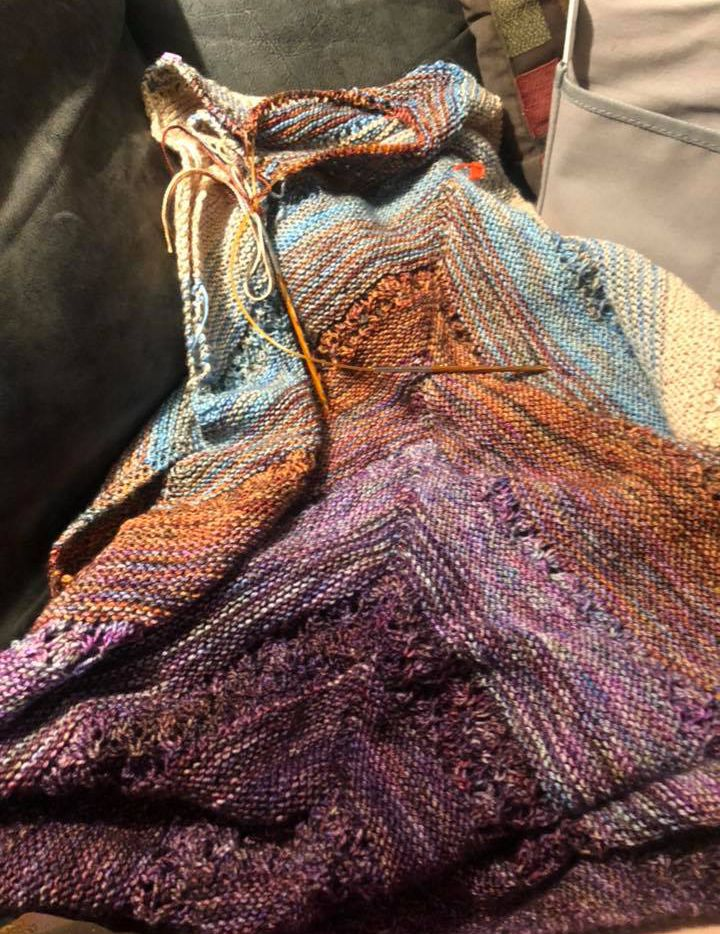 Angela Turnage of Dallas knitted this wrap. Knitting brings her solace.