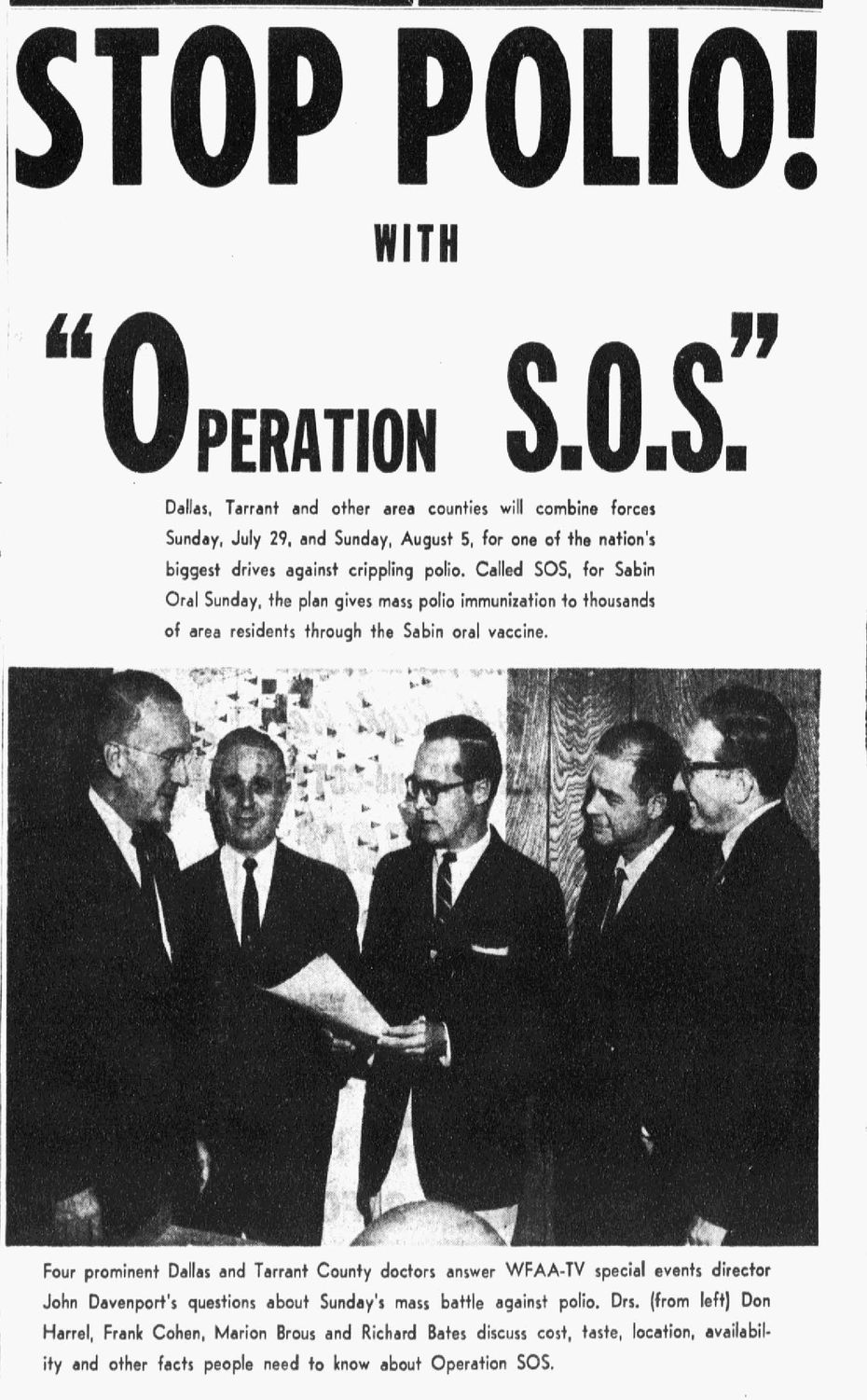Advertisement to stop polio published on July 25, 1962.