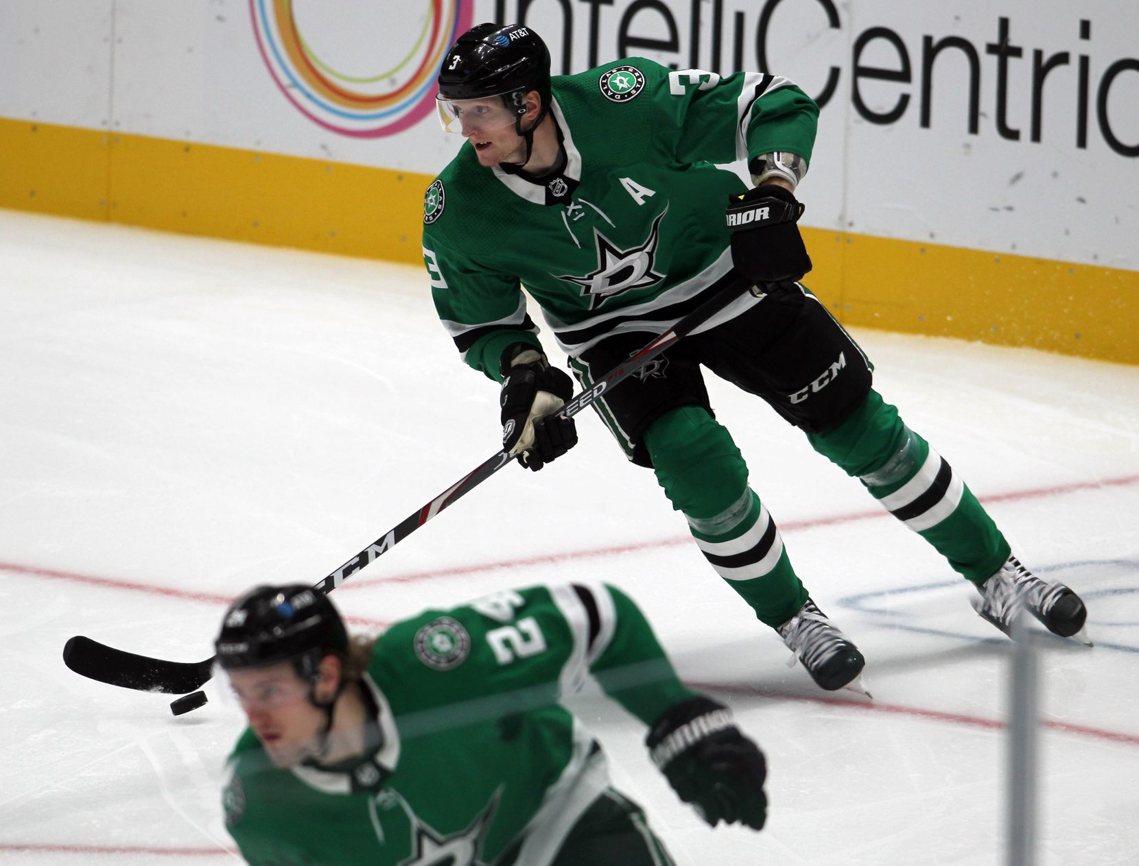 Dallas Stars defenseman John Klingberg (3) moves the puck from behind the Stars goal during the second period of play against the Nashville Predators. The two teams played their NHL game at the American Airlines Center in Dallas on January 24 , 2021. (Steve Hamm/ Special Contributor)