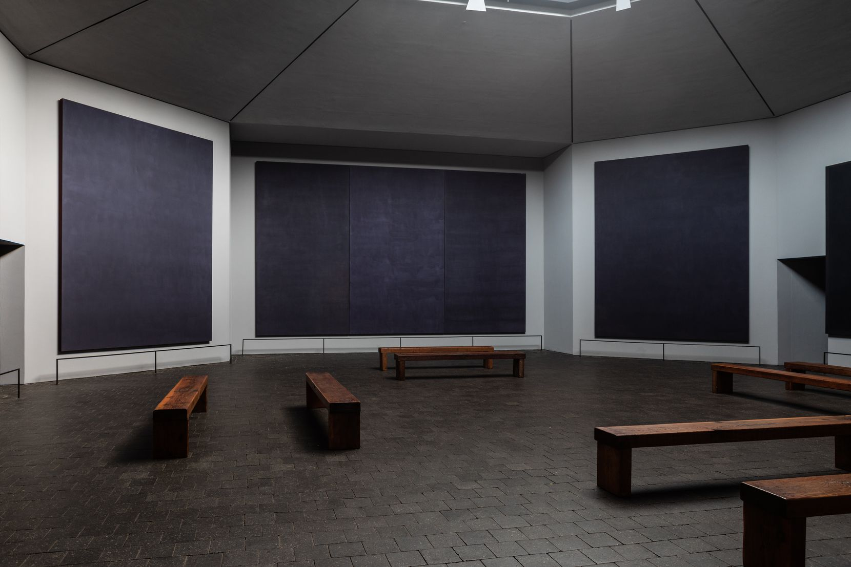 Inside, the Rothko Chapel is a quasi-religious space, home to 14 blue-black paintings by the abstract-expressionist.