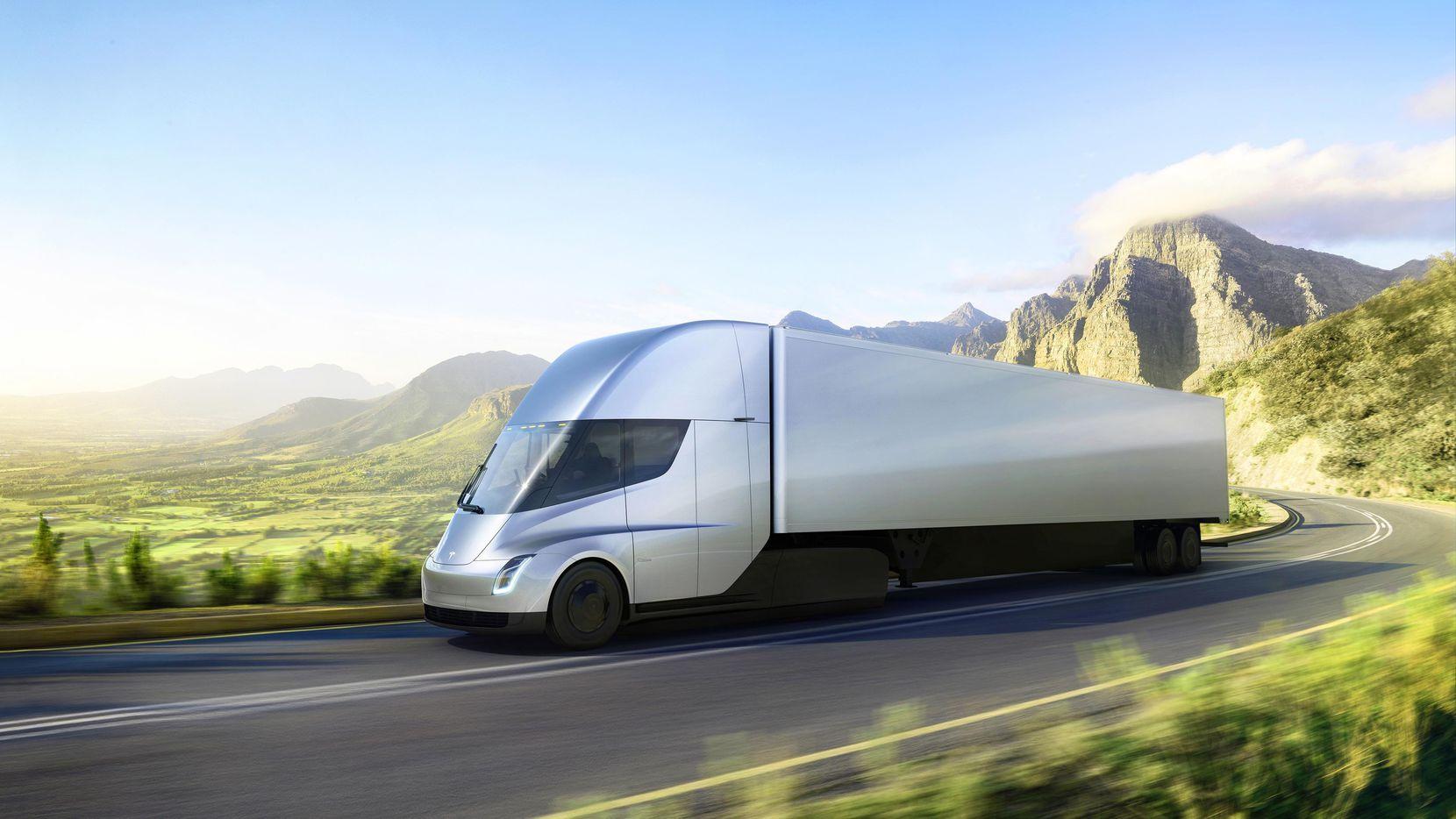 Imagen proveída por tesla que muestra el camión de carga de Tesla que fue presenta el jueves.(AP)