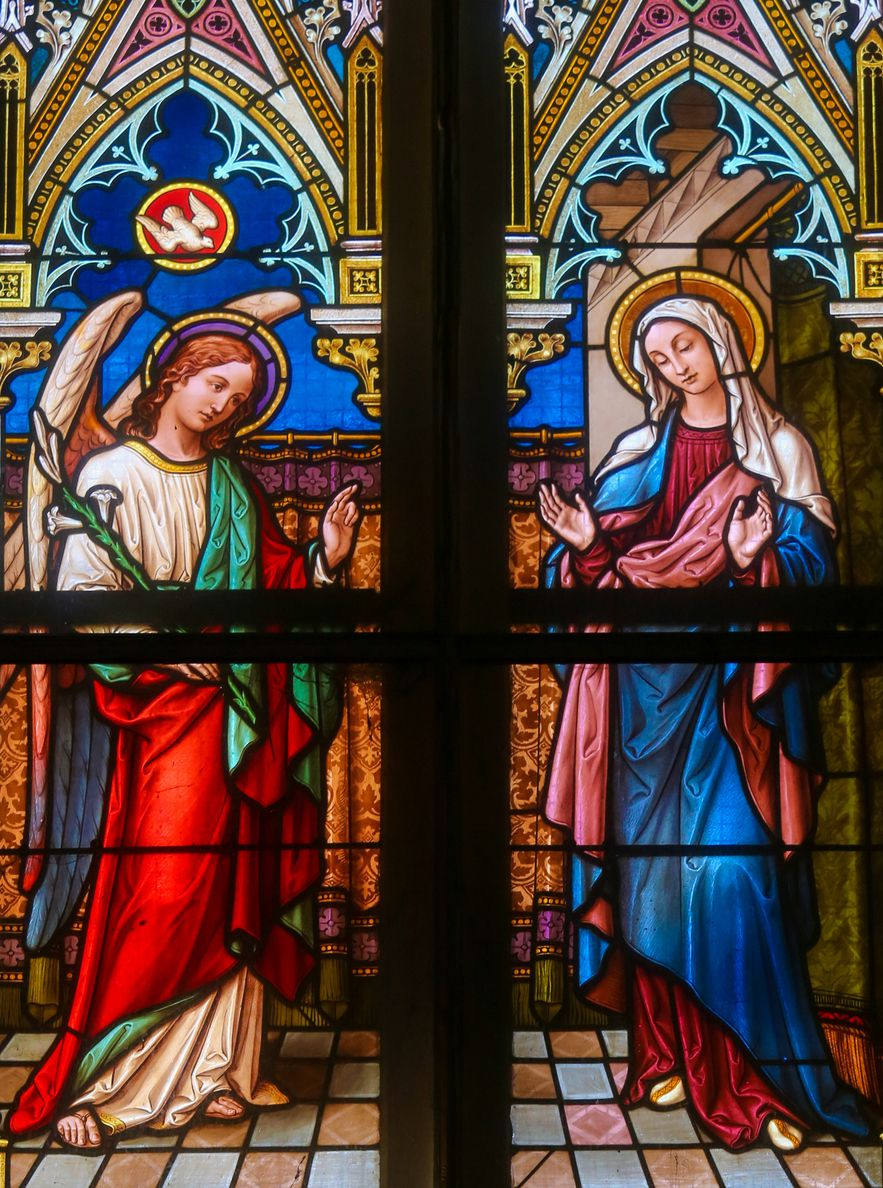Prague, Czech Republic - April 5, 2016: Stained Glass in the Basilica of Vysehrad in Prague, Czech Republic, depicting the Annunciation