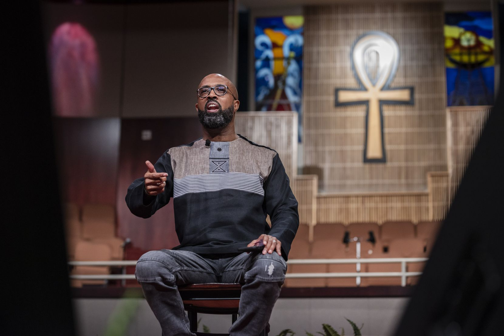 Senior Pastor Frederick D. Haynes, III introduces panelists for a virtual panel titled A Sanoka Moment: 100th Commemoration of the 1921 Tulsa Race Massacre, on Wednesday, June 02, 2021 at Friendship-West Baptist Church in Dallas.