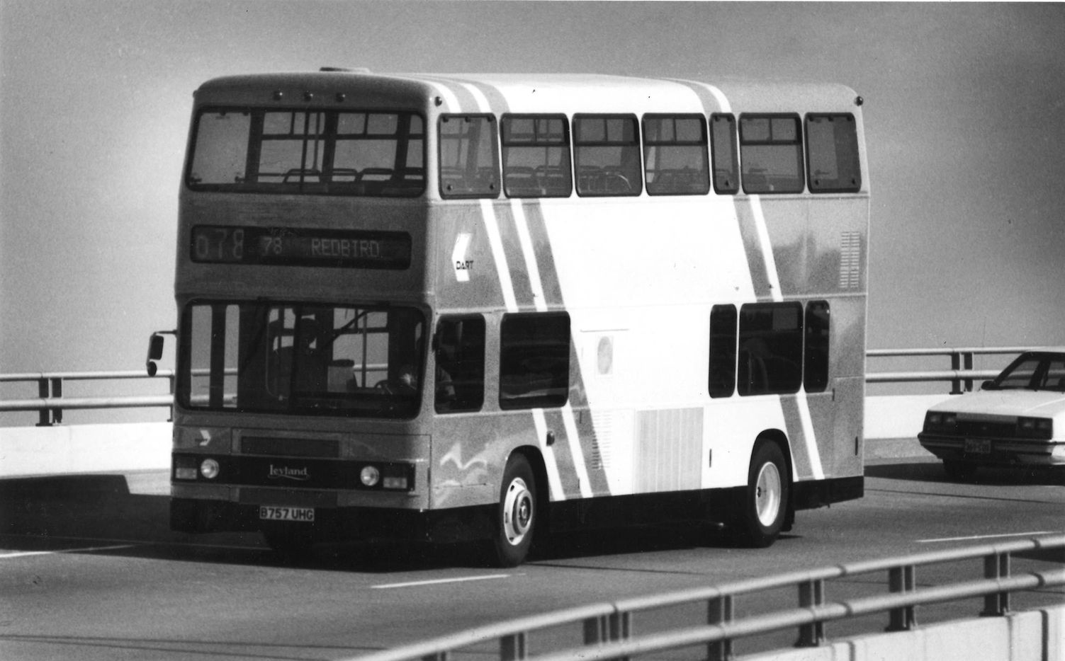 A double-decker bus was being tested by DART for possible usage in the DART system in 1985.
