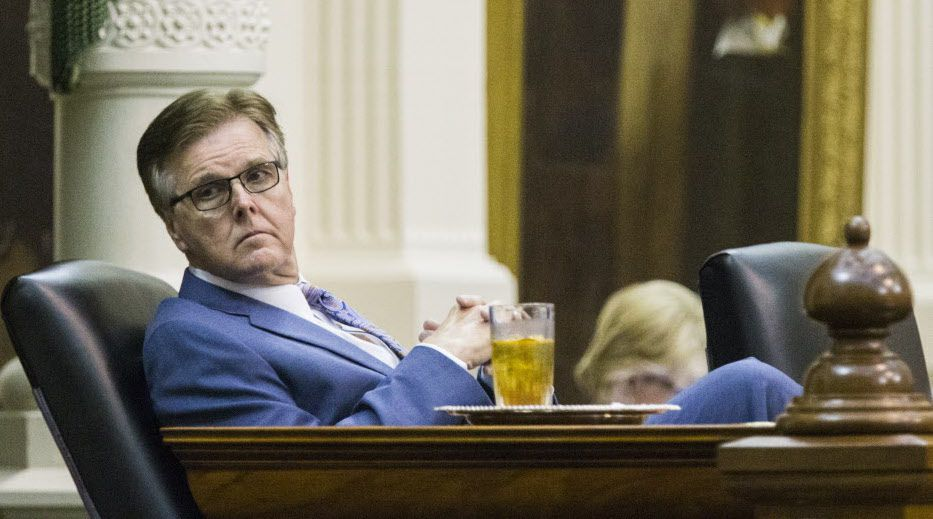 Lt. Governor Dan Patrick leans back in his chair during a midnight session during the third day of a special legislative session on Thursday, July 20, 2017 at the Texas state capitol in Austin, Texas.