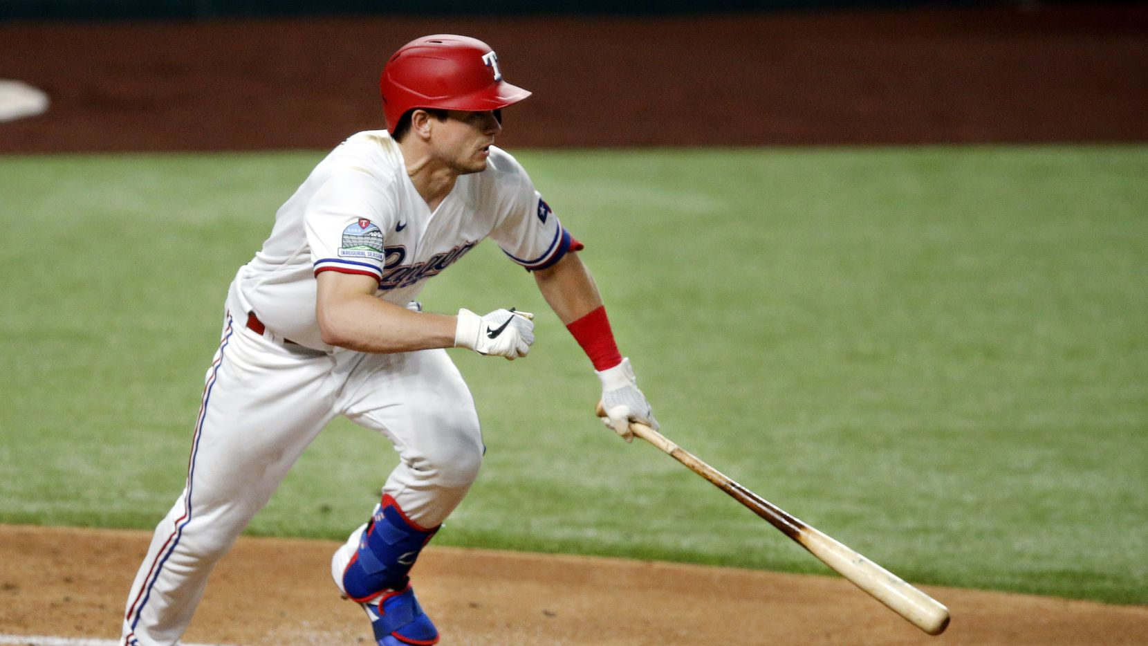 Texas Rangers batter Nick Solak hits a two RBI single in the first inning against the Seattle Mariners at Globe Life Field in Arlington, Tuesday, August 11, 2020. He scored Todd Frazier and Isiah Kiner-Falefa.