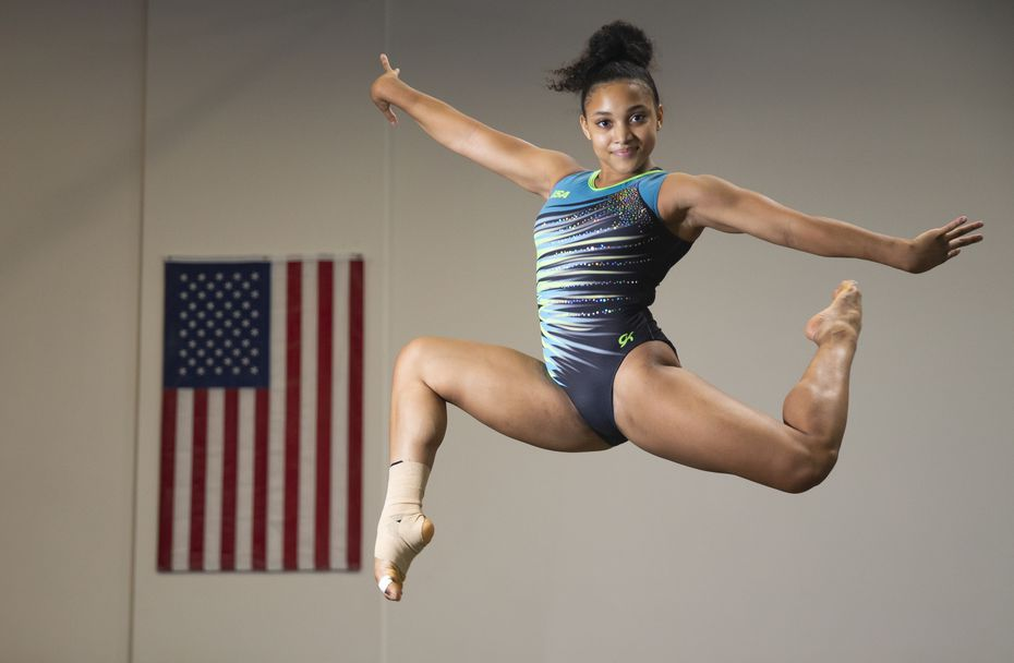 2021 Olympic hopeful Sydney Barros poses for a photo on July 22, 2020 at Texas Dreams Gymnastics in Coppell. Barros now has a shot to make the 2021 team due to the delay in the Tokyo games. (Juan Figueroa/ The Dallas Morning News)
