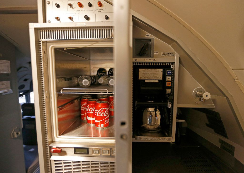 A refrigerator inside the B737-700 aircraft at Hillwood Airways Hangar at Fort Worth Alliance Airport in Fort Worth, Texas, Tuesday, Aug. 8, 2017. (Jae S. Lee/The Dallas Morning News)