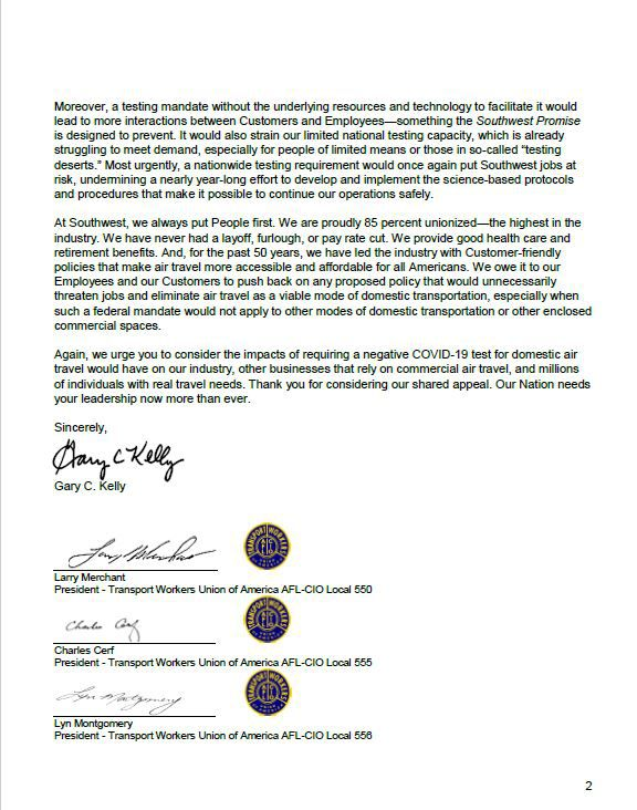 The second page of a letter send to the White House by Southwest CEO Gary Kelly opposing required COVID-19 testing for domestic travel.