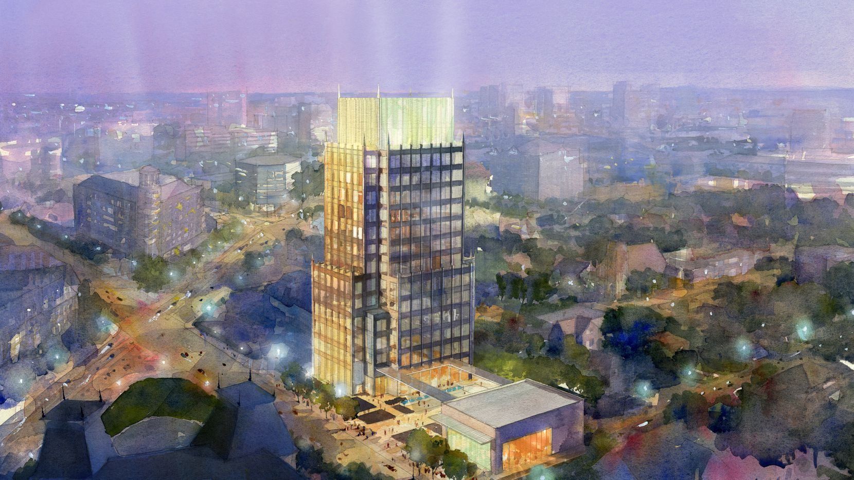 A 14-story office tower  was previously planned for the Maple Avenue site.