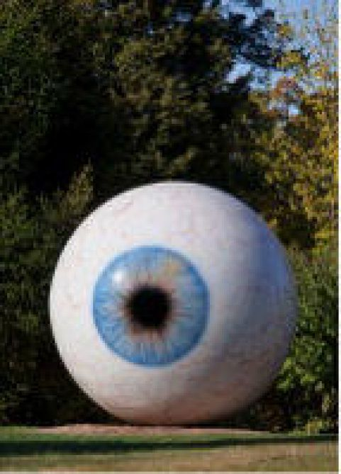 """""""Eye"""" by Chicago-based artist Tony Tasset  will be the first installation in a temporary sculpture garden on Main Street."""