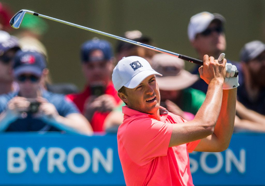 Jordan Spieth tees off at hole 2 during round 4 of the AT&T Byron Nelson golf tournament on Sunday, May 12, 2019 at Trinity Forest Golf Club in Dallas. (Ashley Landis/The Dallas Morning News)