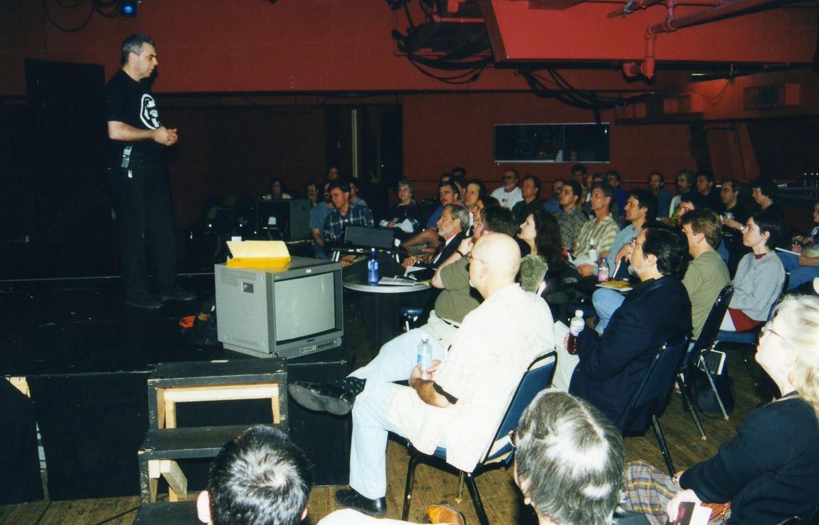 Bart Weiss addressing the Dallas Video Festival audience upstairs at the Kalita Humphreys Theater during the heyday of the festival.