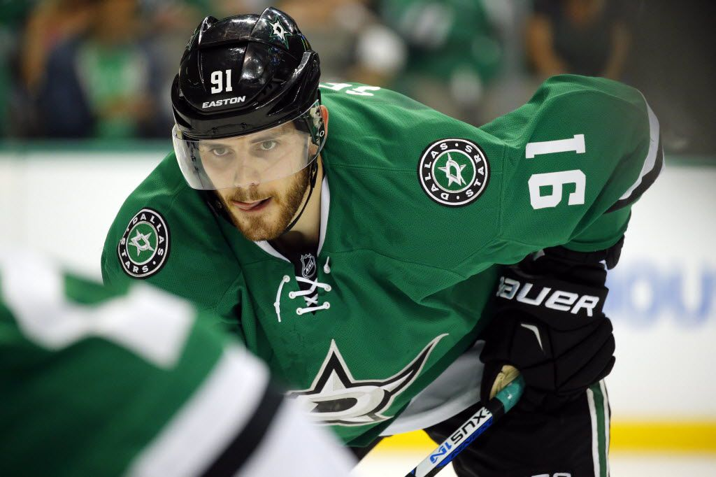Dallas Stars center Tyler Seguin (91) returned to the ice since his Achilles injury as he faced the Minnesota Wild in the first period during Game 2 of the Western Conference Quarterfinals at the American Airlines Center in Dallas, Saturday, April 16, 2016. (Tom Fox/The Dallas Morning News)