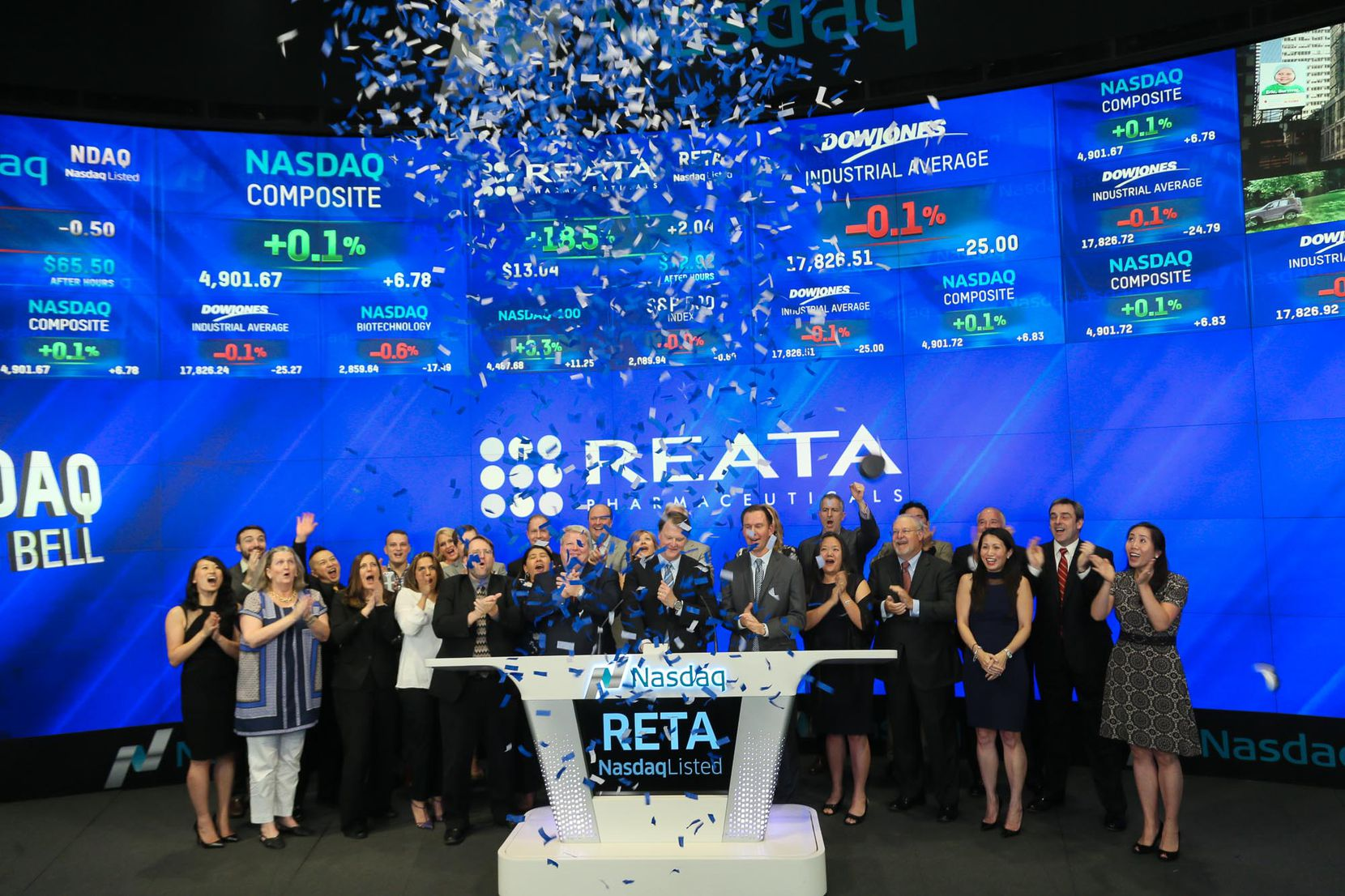 Reata Pharmaceuticals is one of the newcomers to this year's ranking. Led by chief executive J. Warren Huff, company leaders rang the bell at Nasdaq on May 26, 2016.