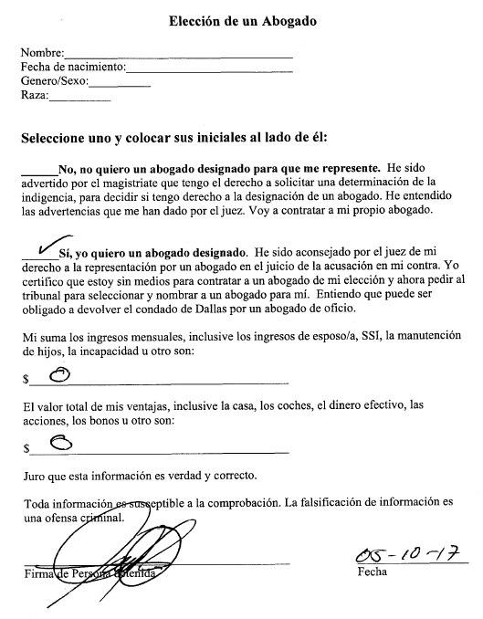 Documento en que el condado le pide a Juan Miguel López seleccionar un tipo de defensa. (CONDADO DE DALLAS)