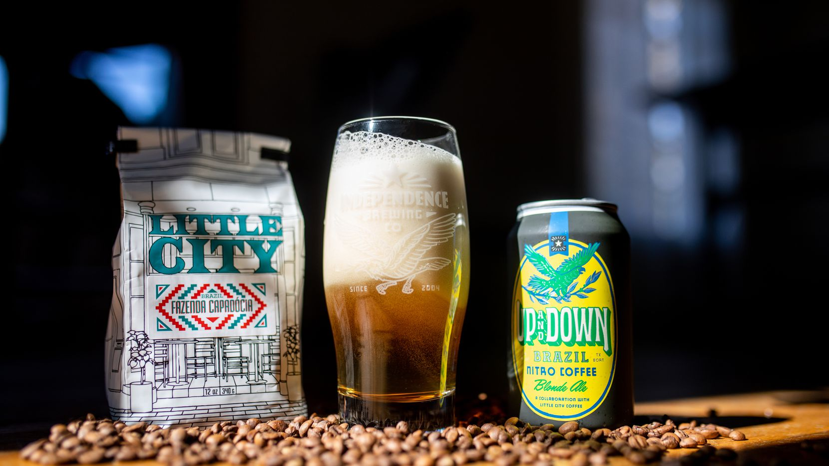 Independence Brewing Company s Up and Down: Brazil is a nitro-charged blonde ale with coffee.