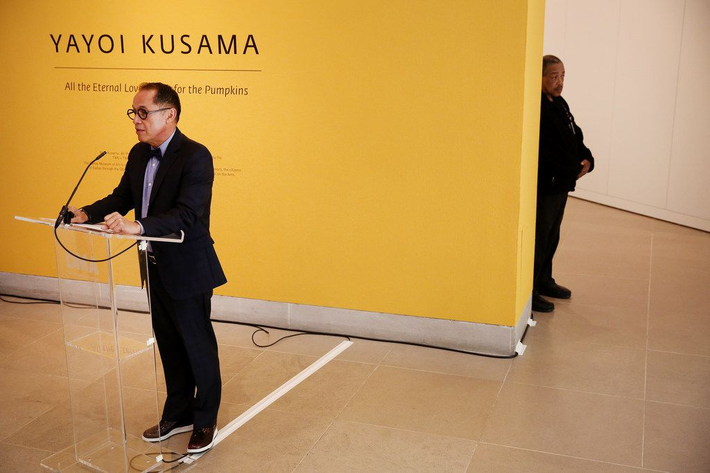 Agustan Arteaga, director of the Dallas Museum of Art, speaks during a media preview of the exhibition 'Yayoi Kusama: All the Eternal Love I Have for the Pumpkins' at the Dallas Museum of Art in Dallas Monday September 18, 2017.
