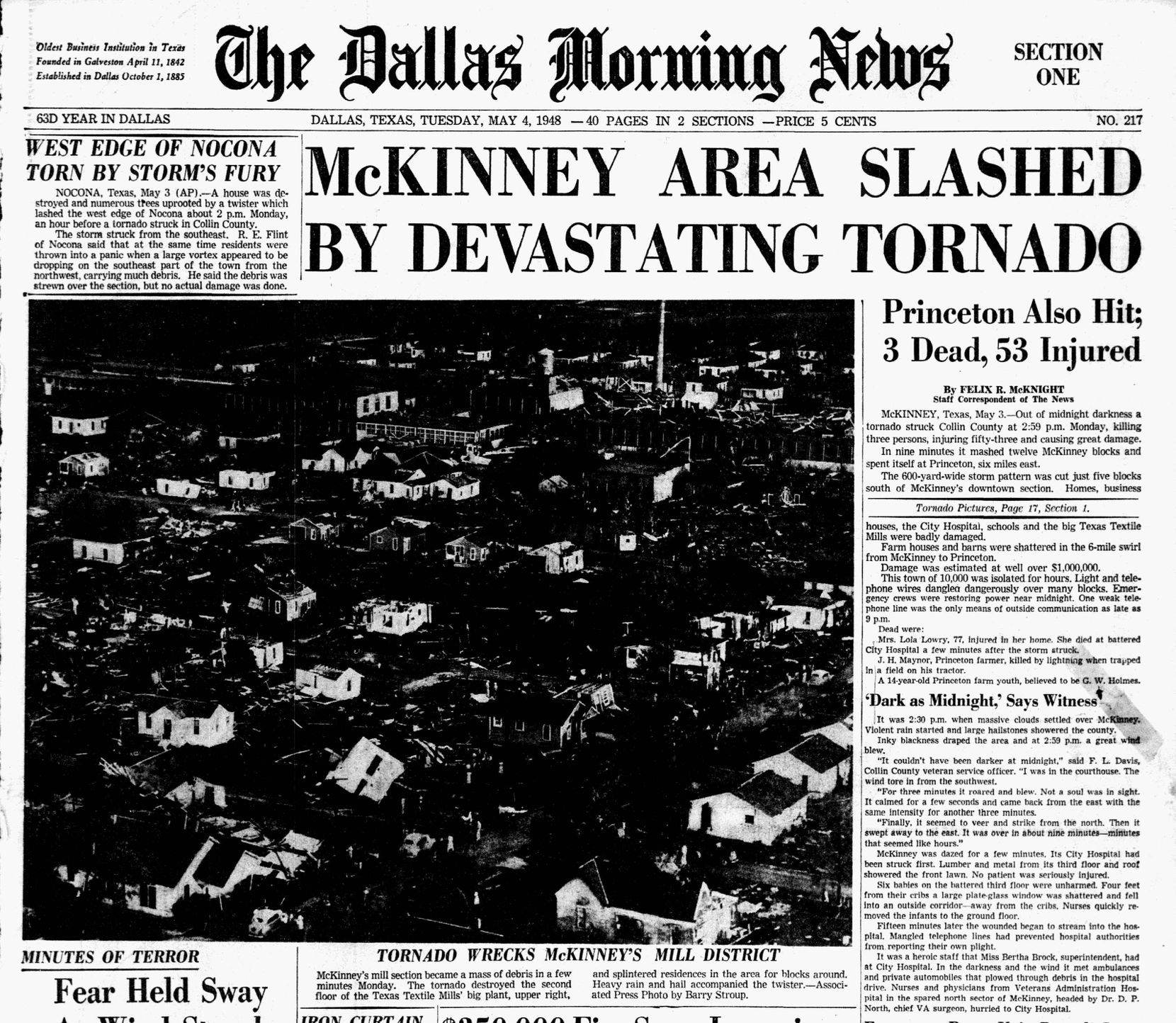 Dallas Morning News front page from May 4, 1948.