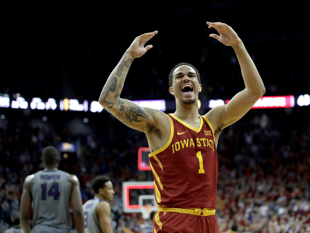 Iowa State's Nick Weiler-Babb celebrates after an NCAA college basketball game against Kansas State in the Big 12 men's tournament Friday, March 15, 2019, in Kansas City, Mo. Iowa State won 63-59. (AP Photo/Charlie Riedel)
