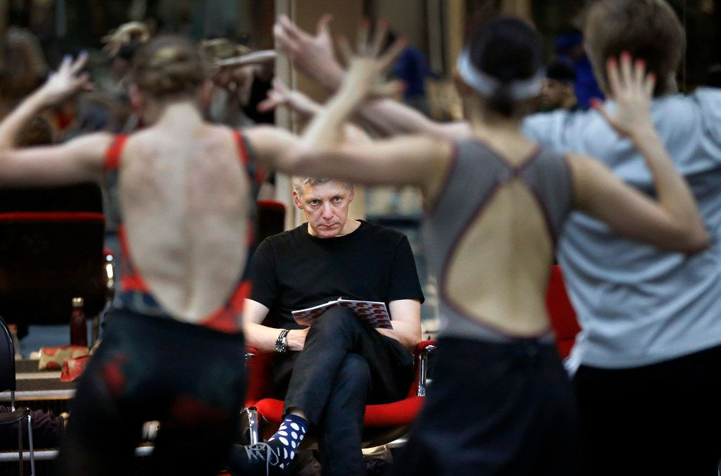 British director-choreographer Will Tuckett (center) observes Texas Ballet Theater dancers during a run-through of his epic version of Pinocchio in the TBT main studio in Fort Worth. The elaborate production making its U.S. premiere features 60 cast members in 150 roles, video projections and flying.