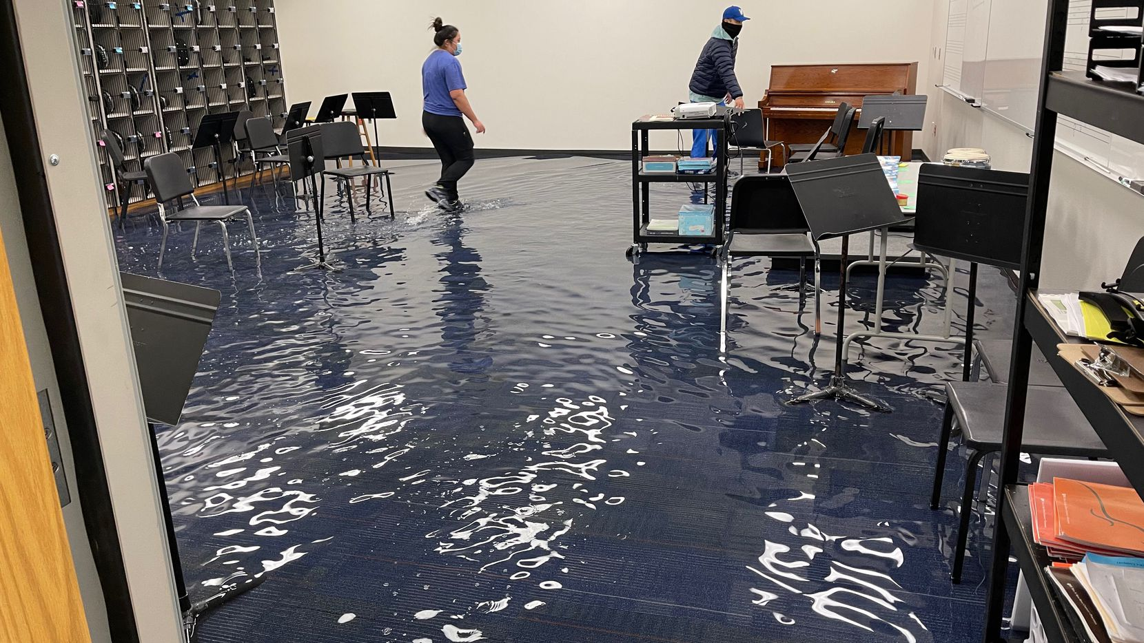 A band room is severely damaged with water after a pipe busted during the winter storm at E.D. Walker Middle School in Dallas last week.