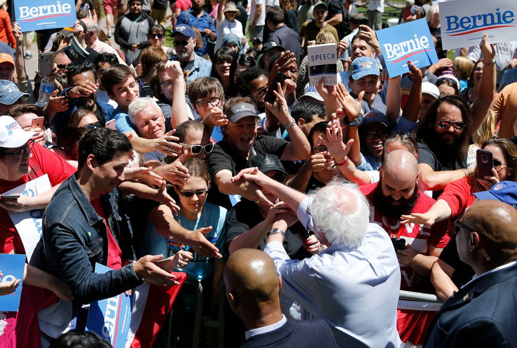Democratic presidential candidate Sen. Bernie Sanders, I-Vt., shakes hands with people after a speech during a rally at Burnett Park in Fort Worth on Thursday, April 25, 2019.
