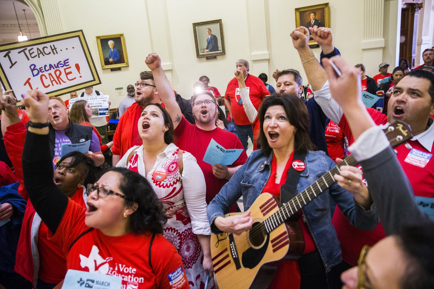 National Education Association president Lily Eskelsen García (with guitar) leads a song in the rotunda during the Texas Public Education Rally on Monday, March 11, 2019 at the Texas capitol in Austin. Teachers pushed for school finance reform and pay raises.