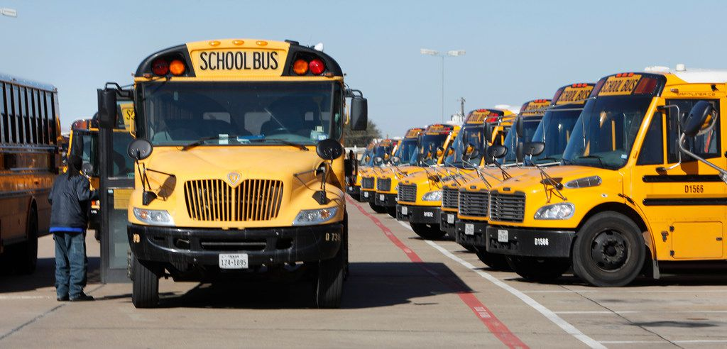 A Dallas County Schools driver prepares to leave from one of four bus depots leased by Dallas County Schools, this one at 2455 Rentzel St. in Dallas.