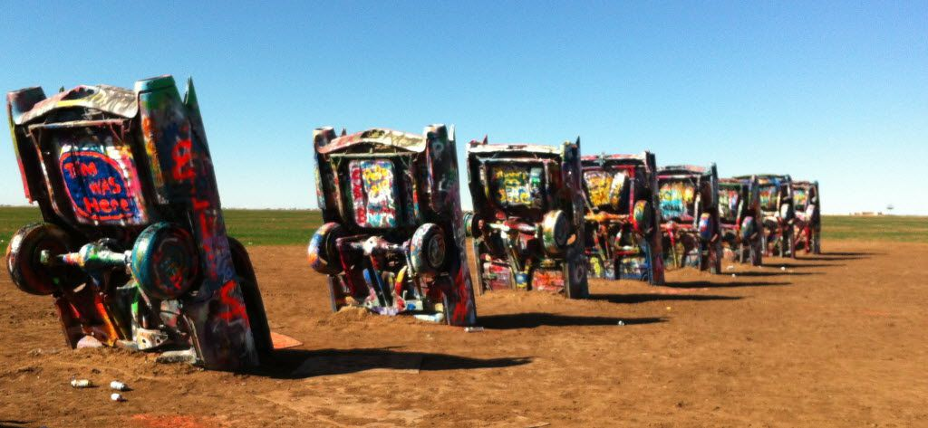 West of Amarillo, after Historic Route 66 rejoins Interstate 40, adventures hop off the highway for a look at the legendary Cadillac Ranch.