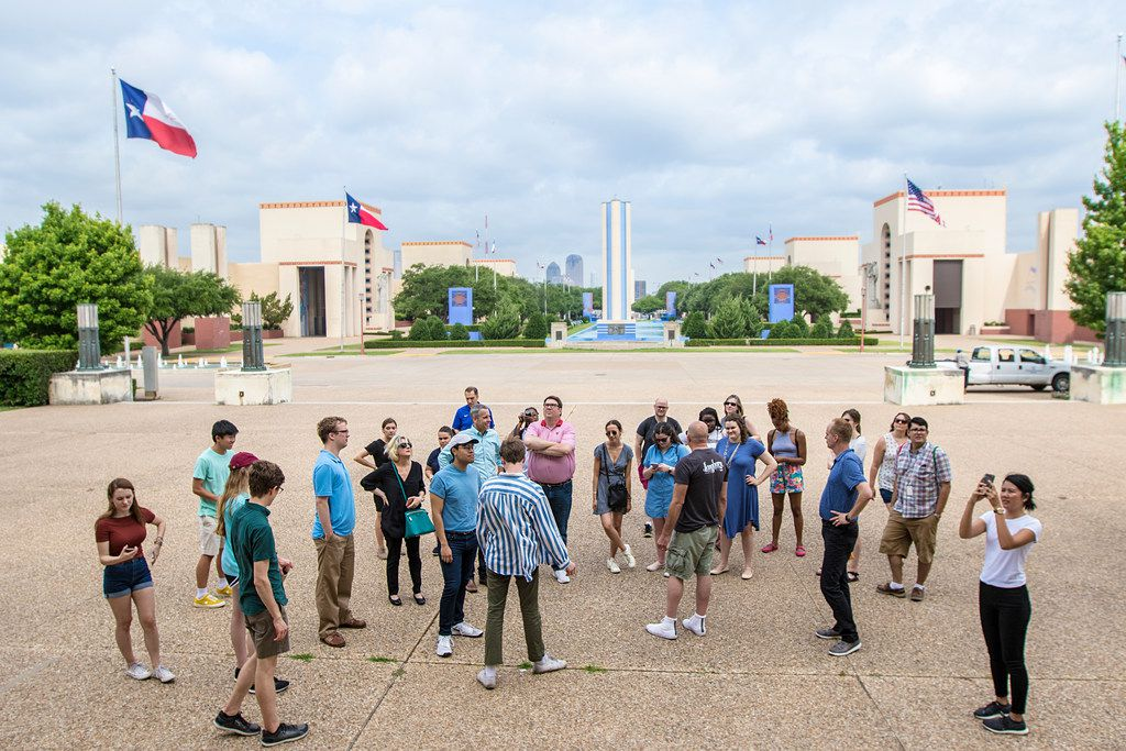 Robert Wilonsky, a columnist with The Dallas Morning News, gives a tour of Dallas to the DMN summer 2018 interns on June 12, 2018.
