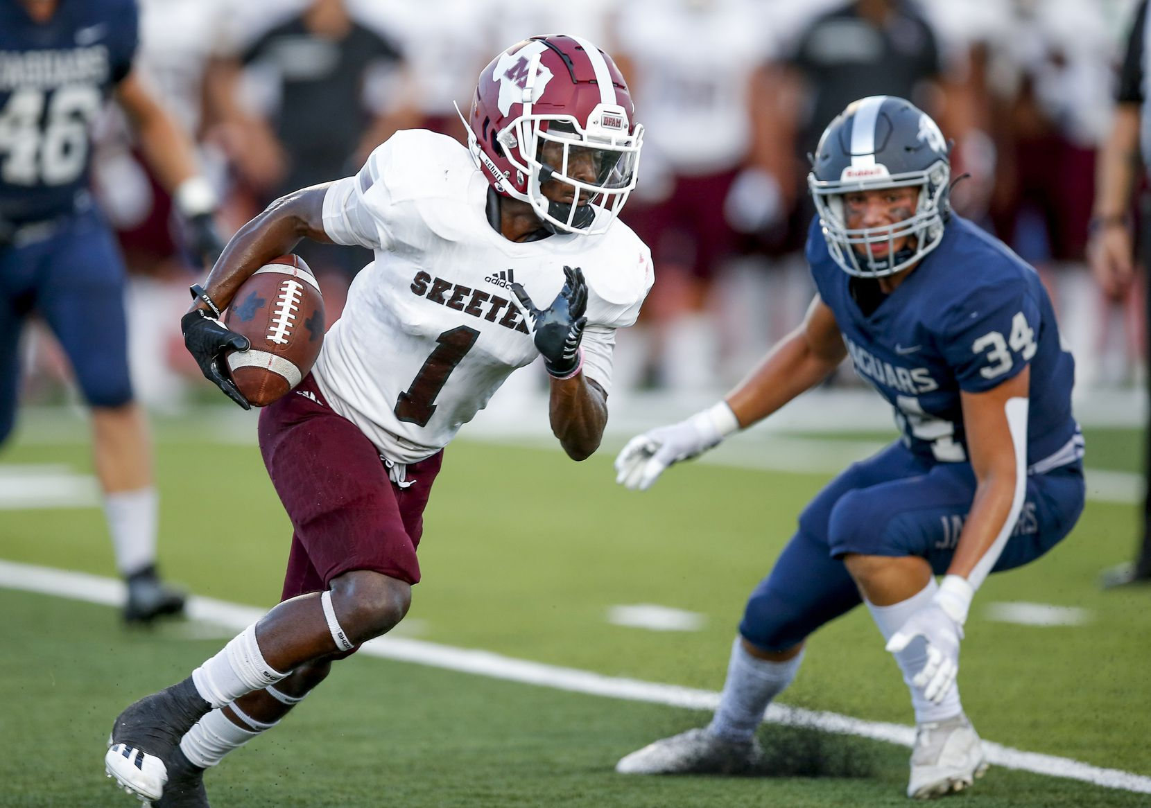 Mesquite senior wide receiver Justin White (1) looks for room against the Flower Mound defense during the first half of a high school football game at Flower Mound High School, Friday, August 27, 2021. (Brandon Wade/Special Contributor)