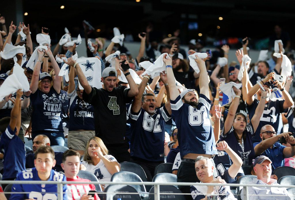 Dallas Cowboys fans participate in the wave during the second half of play at AT&T Stadium in Arlington, Texas on Sunday, September 8, 2019. Dallas Cowboys defeated the New York Giants 35-17 in the home opener.