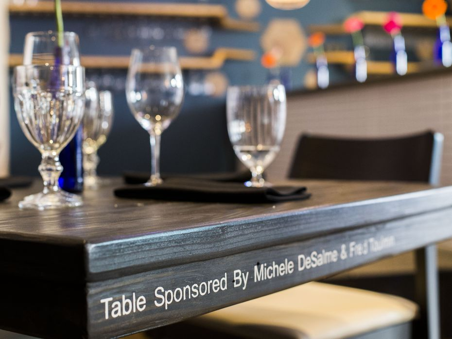 Nearly every piece of furniture inside Cafe Momentum is sponsored by a loyal supporter.