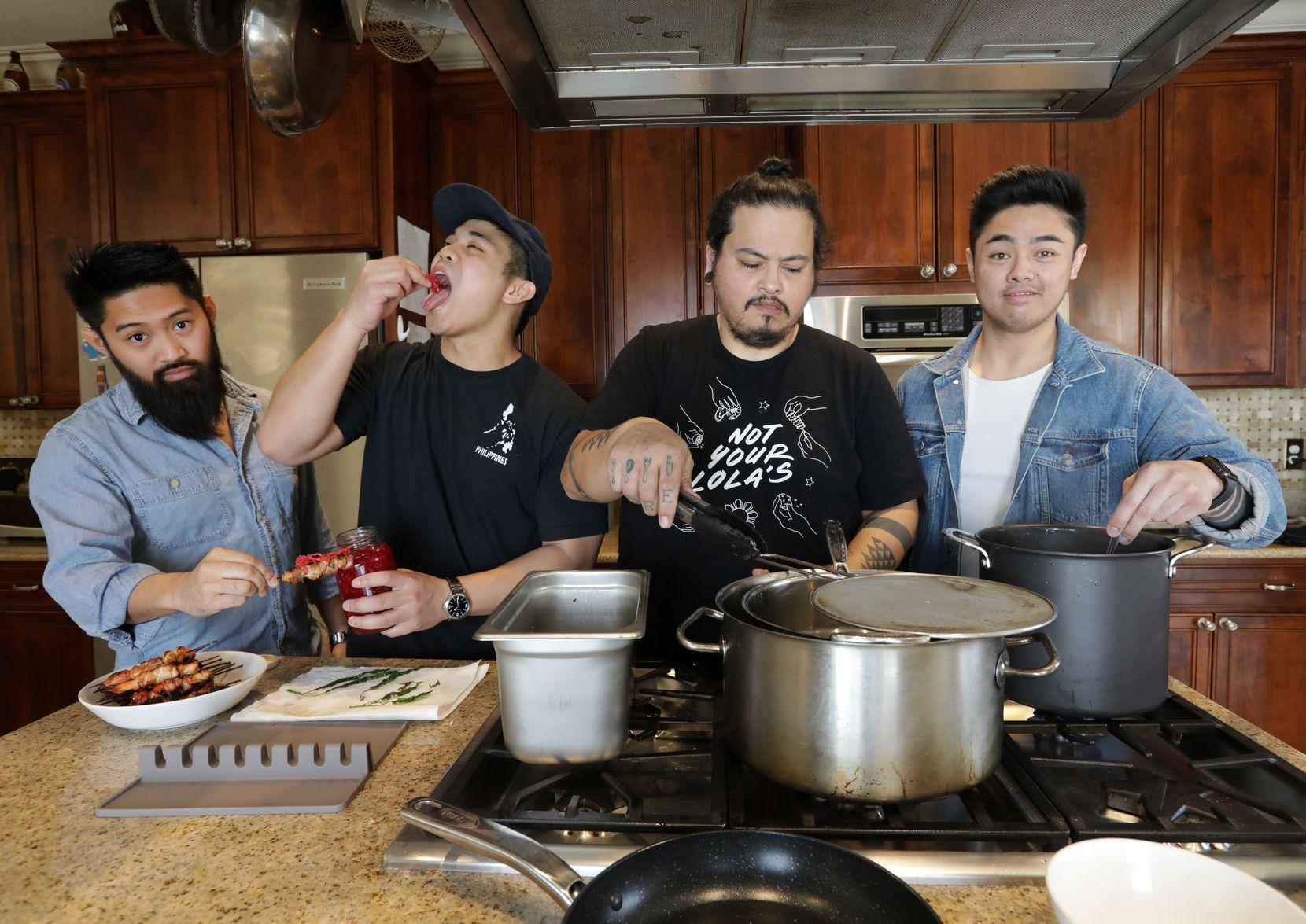 Daniel Gerona, left, Jed Pajela, Randall Braud, and Carlo Wayan create Filipino dishes for Not Your Lola's.