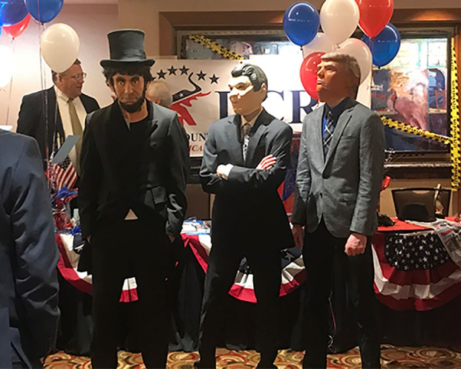 Republicans donned masks of Presidents Abraham Lincoln, Ronald Reagan and Donald Trump during the Denton County Republican Party's annual Lincoln-Reagan Dinner last weekend at the Hyatt Regency DFW. (For the Denton Record-Chronicle)
