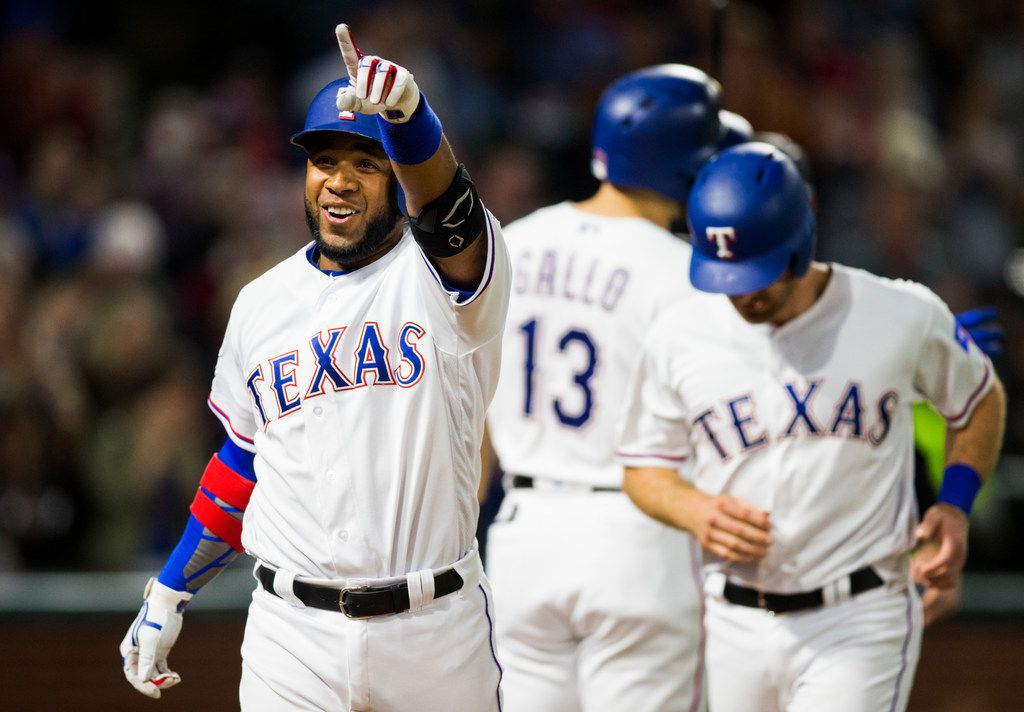 Texas Rangers shortstop Elvis Andrus (1) celebrates a home run during the fifth inning of an MLB game between the Texas Rangers and the Oakland Athletics on Friday, April 12, 2019 at Globe Life Park in Arlington, Texas. (Ashley Landis/The Dallas Morning News)