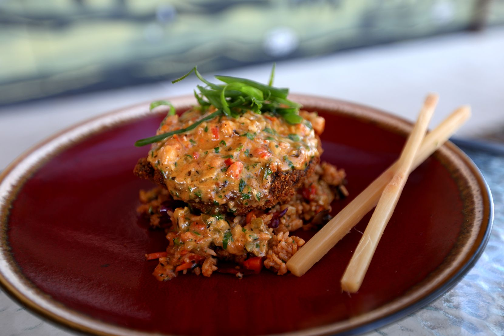 The Dragonseed is one of the menu items that takes a turn from traditional Cajun fare. It's a panko-crusted Portobello mushroom stuffed with crawfish and topped with a blackened cream sauce. Sugar cane chopsticks come on the side.