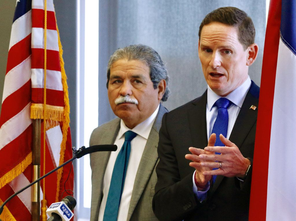 Dallas ISD Superintendent Michael Hinojosa (left) and Dallas County Judge Clay Jenkins held a news conference last month concerning truancy. (David Woo/Staff Photographer)